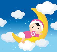 Dreaming baby on the moon by schtroumpf2510