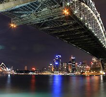 Sydney Harbour Bridge and Opera House at night  by Andrew  MCKENZIE