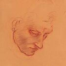 Michelangelo head study #1 - Original terra cotta prisma pencil drawing by Rebecca Rees