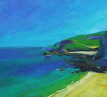 Acrylic painting of Cornish Coast by Emily King