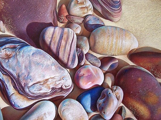 """Pallette of stones - Hallett Cove beach SA"" - detail  by Elena Kolotusha"