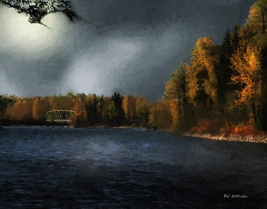 Metal Bridge in Moonlight by RC deWinter