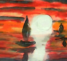 Red sunset, watercolor by Anna  Lewis
