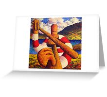 Fiddle player  in landscape( impasto) acrylic 12x12 in. Greeting Card