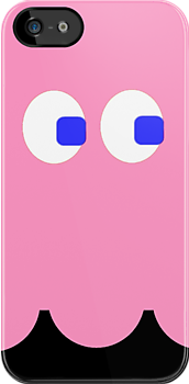 Pac-Man Ghost iphone pink by Margaret Bryant