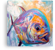 Contemporary Expressionist Fine Art Permit Fish Painting Canvas Print