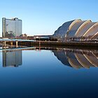 Reflected Clyde Auditorium/Crowne Plaza/Bells Bridge by Glaspark