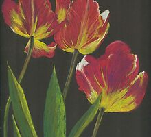 pastel pencil parrot tulips by Elena Malec