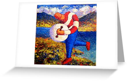 Bodhran player in landscape impasto by Alan Kenny
