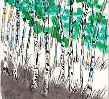 summer birches by wormink