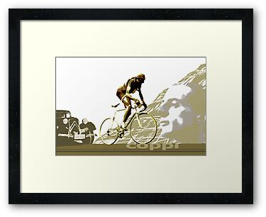 retro FAUSTO COPPI Tour de France cycling poster by SFDesignstudio