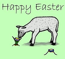 Happy Easter - cute flower & lamb (green) by ReadiesCards