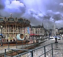 Honfleur Harbourside ( 5 ) Shades of Something Wicked This Way Comes. by Larry Davis