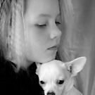 girl with dog  by torishaa