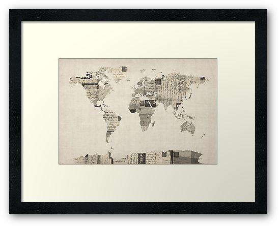 Map of the World Map from Old Postcards by ArtPrints