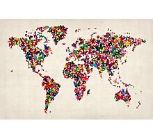 Butterflies Map of the World Map Photographic Print
