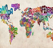 Typography Text Map of the World Map by ArtPrints