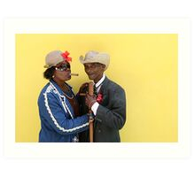 Cuban man and Daughter posing with their cigars and cane. Art Print