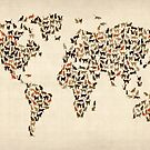 Cats Map of the World Map by ArtPrints