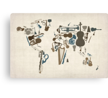 Musical Instruments Map of the World Canvas Print