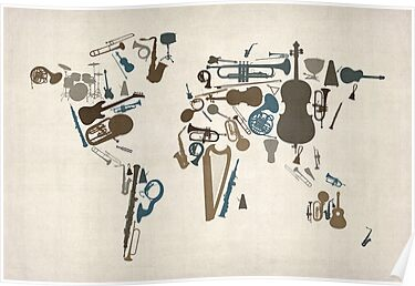 Musical Instruments Map of the World by ArtPrints