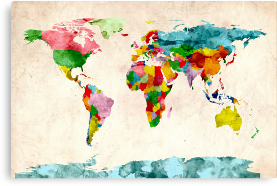 World Map Watercolors by ArtPrints