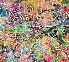 London Map Art Watercolor by Michael Tompsett