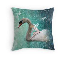 Ride a White Swan Throw Pillow