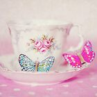 Vintage Teacup and Butterflies by Anna Davies