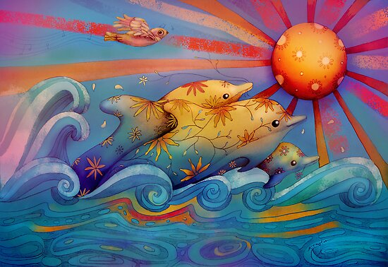 rainbow dolphins by Karin  Taylor