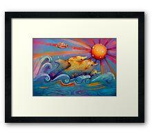 rainbow dolphins Framed Print