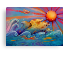 rainbow dolphins Canvas Print