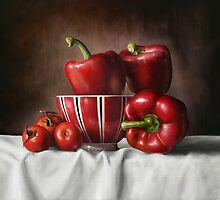 Classic Still Life with tomatoes and peppers by Przemys?aw Bródka