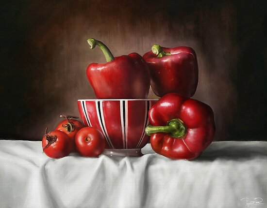 Classic Still Life with tomatoes and peppers by Przemysław Bródka