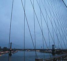 Manhattan Bridge, As Seen Through Brooklyn Bridge by lenspiro