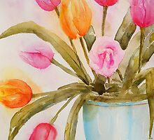 Tulips in Blue vase by LuciaM
