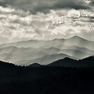 Blue Ridge Mountains Sunset in Black and White by Dawn Crouse