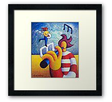 Two soft musicians with musical notes(impasto) acrylic Framed Print
