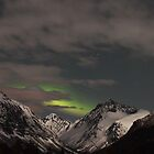Moon-lit mountains and Northen Lights by geiroye
