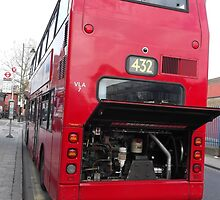 Broken down red double decker bus -(100312)- digital photo by paulramnora