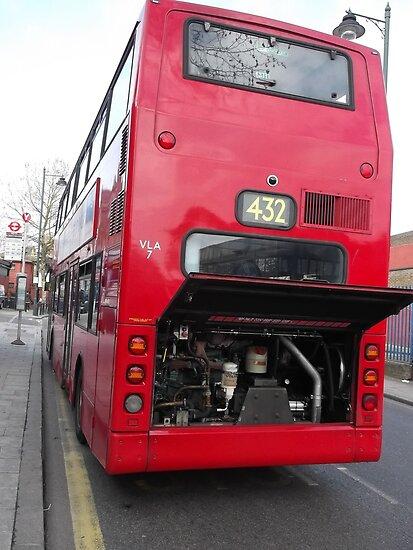 Broken down red double decker bus -(100312)- digital photo by paulramnora