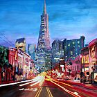 San Francisco: Columbus St. with Cafe Vesuvio and Transamerica  by artshop77