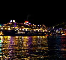 Queen Mary 2 getting ready to leave ! by miroslava