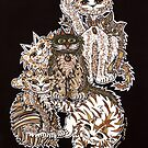 Sepia Cats ~ A cluster of quirky cats! by Lisa Frances Judd ~ Original Australian Art