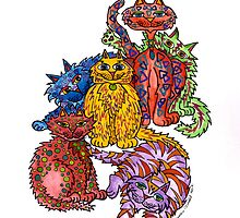 Cat Cluster ~ a colourul bunch of felines! by Lisa Frances Judd ~ QuirkyHappyArt