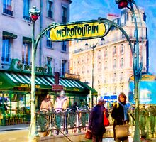 Paris Metro Station - Parisian Street Scene by Mark Tisdale