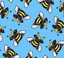 Pug-a-Bee {blue} by offleashart