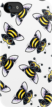 Pug-a-Bee {white} by offleashart