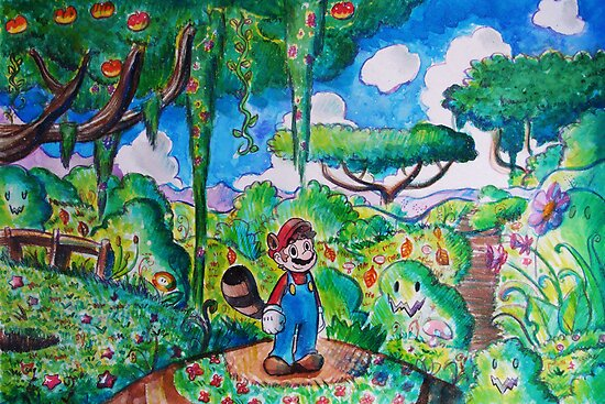 Raccoon Mario Watercolor by SaradaBoru