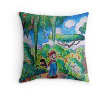 Raccoon Mario Watercolor Throw Pillow